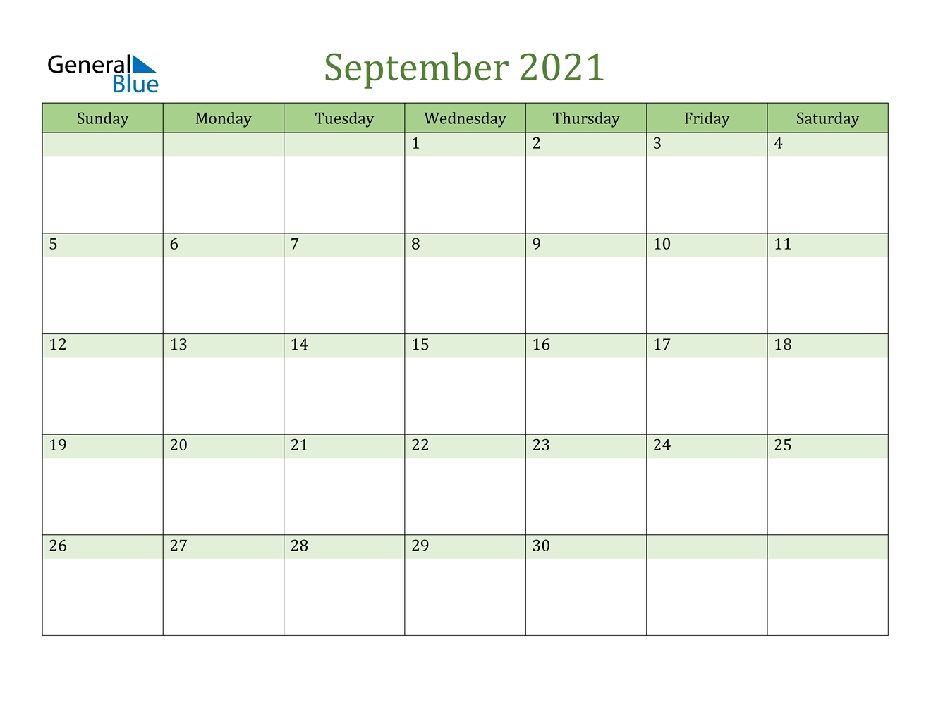 September 2021 Calendar - Pdf Word Excel Printable September 2021 Calendar