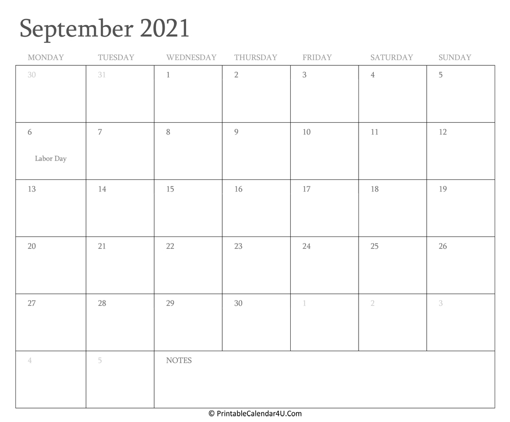 September 2021 Calendar Printable With Holidays September 2021 Calendar Starting Monday