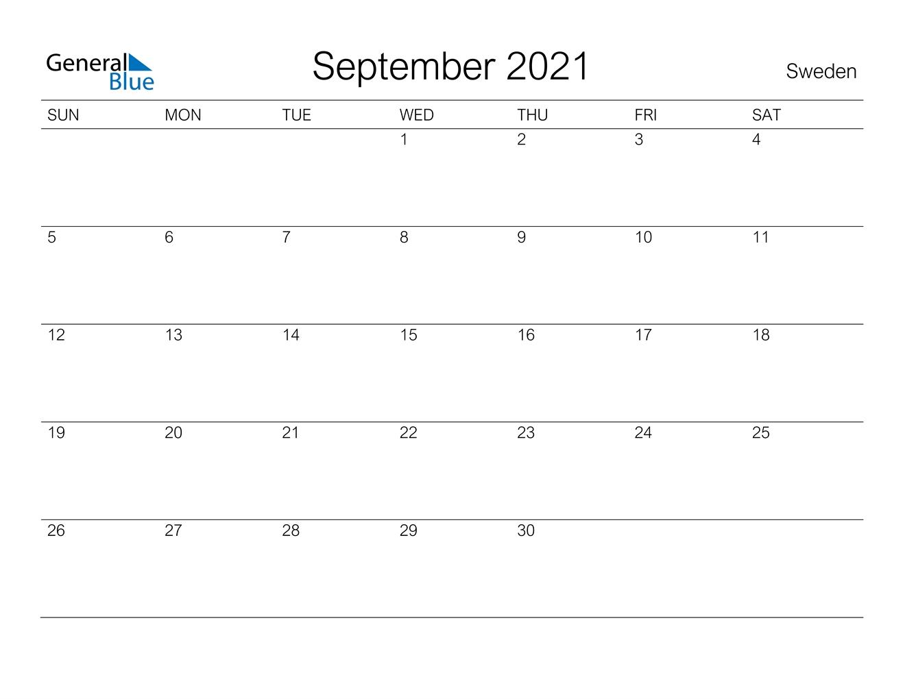 September 2021 Calendar - Sweden Calendar May To September 2021