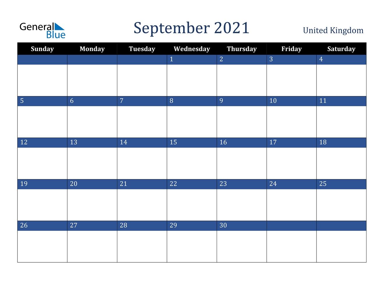 September 2021 Calendar - United Kingdom September 2021 Calendar With Holidays Printable