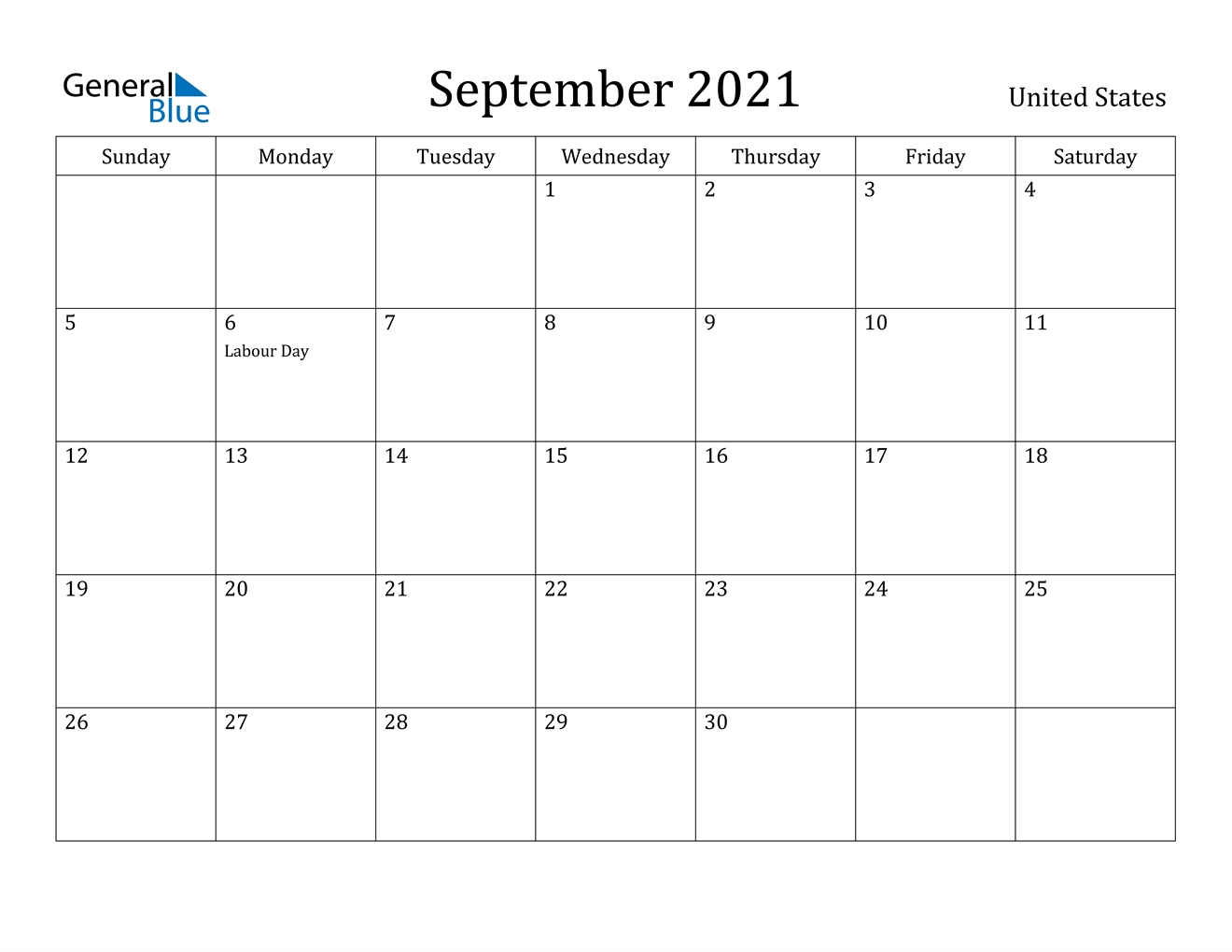 September 2021 Calendar - United States September 2021 Calendar Image