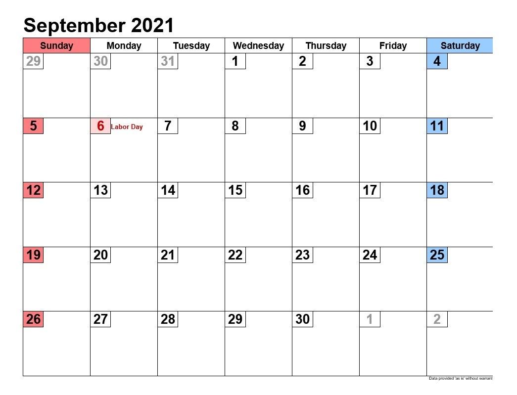 September 2021 Calendars Landscape Format | 2021Printablecalendar Printable September 2021 Calendar
