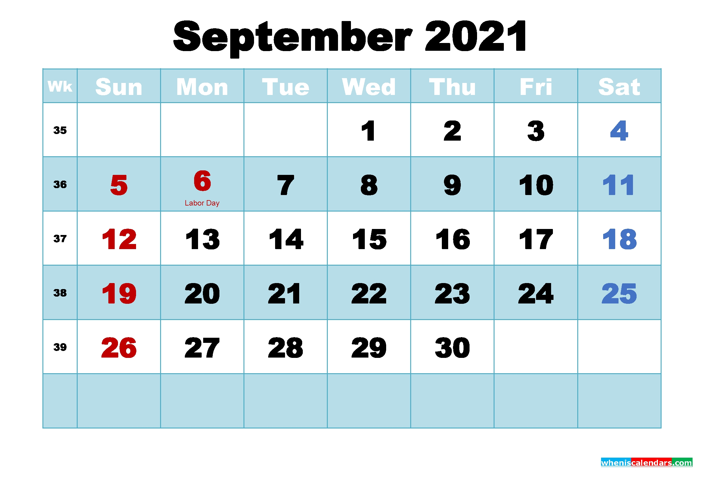 September 2021 Free Printable Calendar With Holidays September 2021 Calendar Image