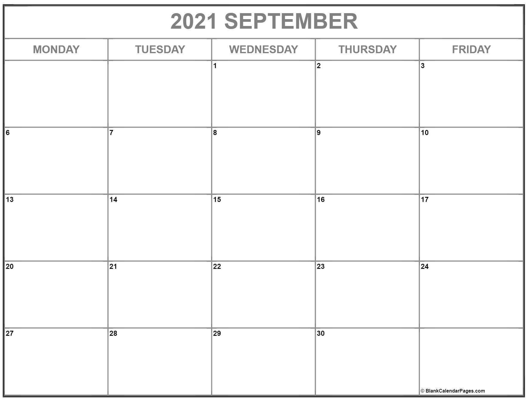 September 2021 Monday Calendar   Monday To Sunday September 2021 Calendar Starting Monday