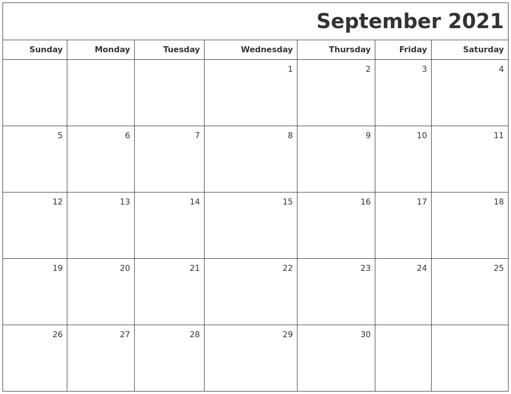 September 2021 Printable Blank Calendar September 2021 Calendar Image