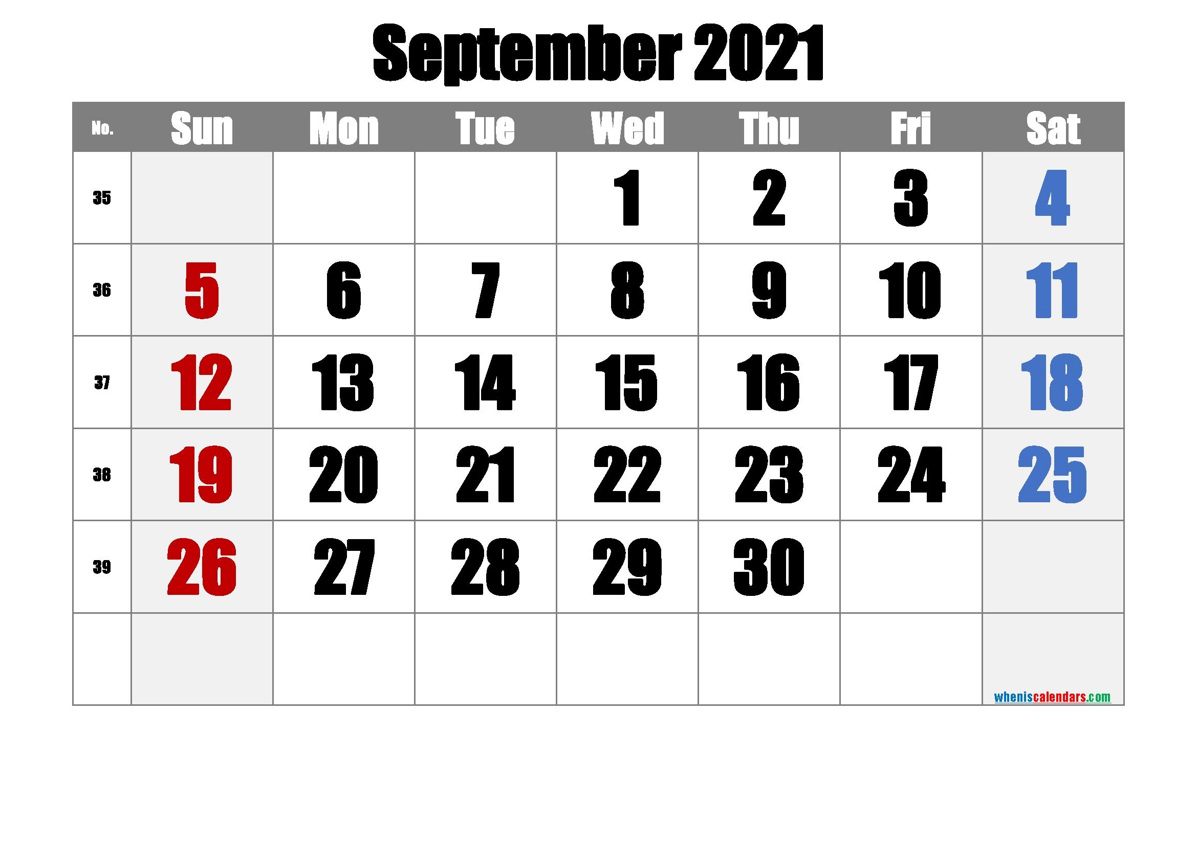 September 2021 Printable Calendar - 6 Templates - Free Printable 2020 Monthly Calendar With Holidays September October November 2021 Calendar