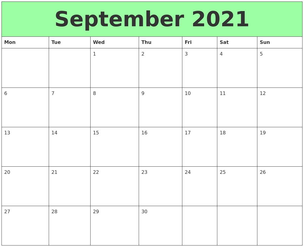 September 2021 Printable Calendars September 2020 To September 2021 Calendar