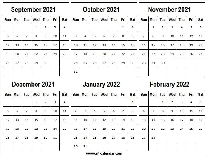 September 2021 To February 2022 Calendar A4 Sheet - A4 Calendar September And October 2021 Calendar