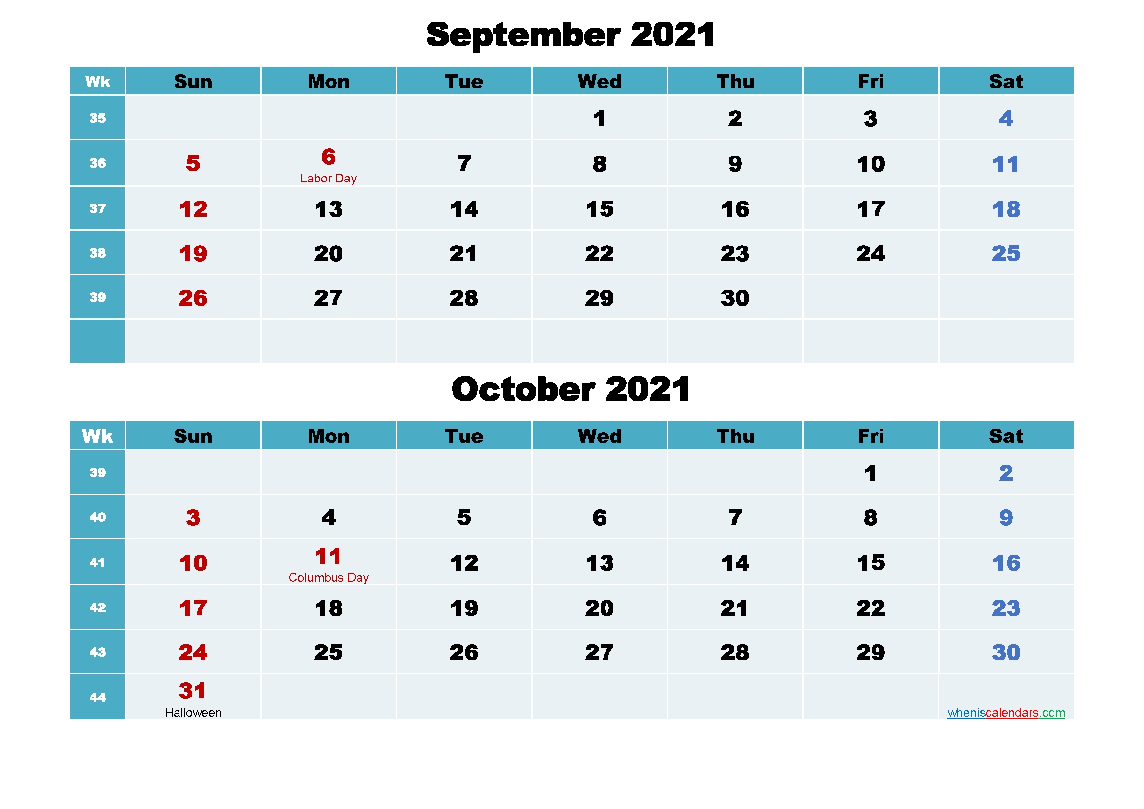 September And October 2021 Calendar With Holidays - Free Printable 2020 Monthly Calendar With October 2020 - September 2021 Calendar