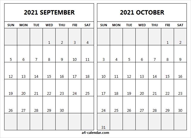 September October 2021 Calendar In Excel - A4 Calendar October 2020 - September 2021 Calendar