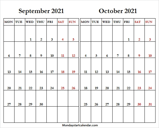 September October 2021 Calendar Mon Fri - Sep 2021 Calendar Excel September And October 2021 Calendar