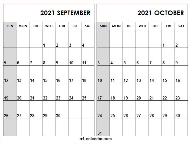 September October 2021 Calendar Printable - A4 Calendar October 2020 - September 2021 Calendar