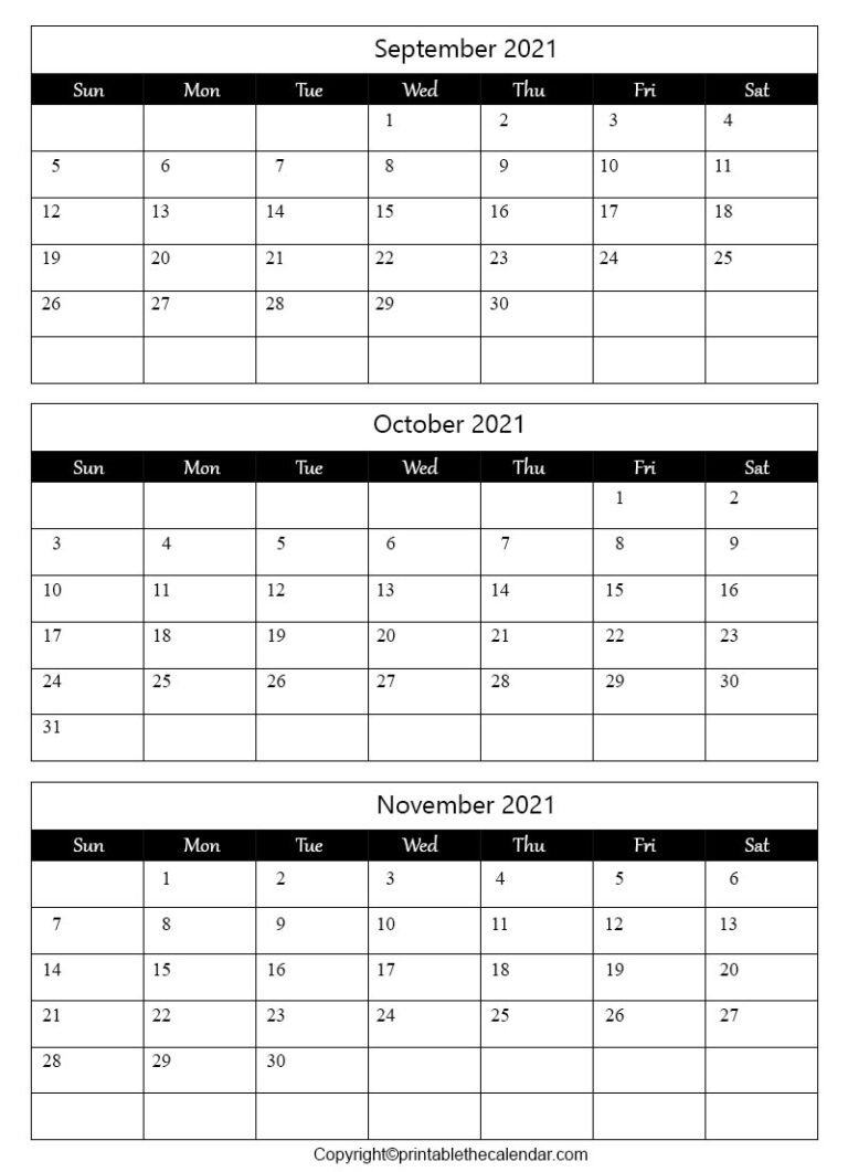 September October November 2021 Calendar Template | Printable The Calendar September And October 2021 Calendar