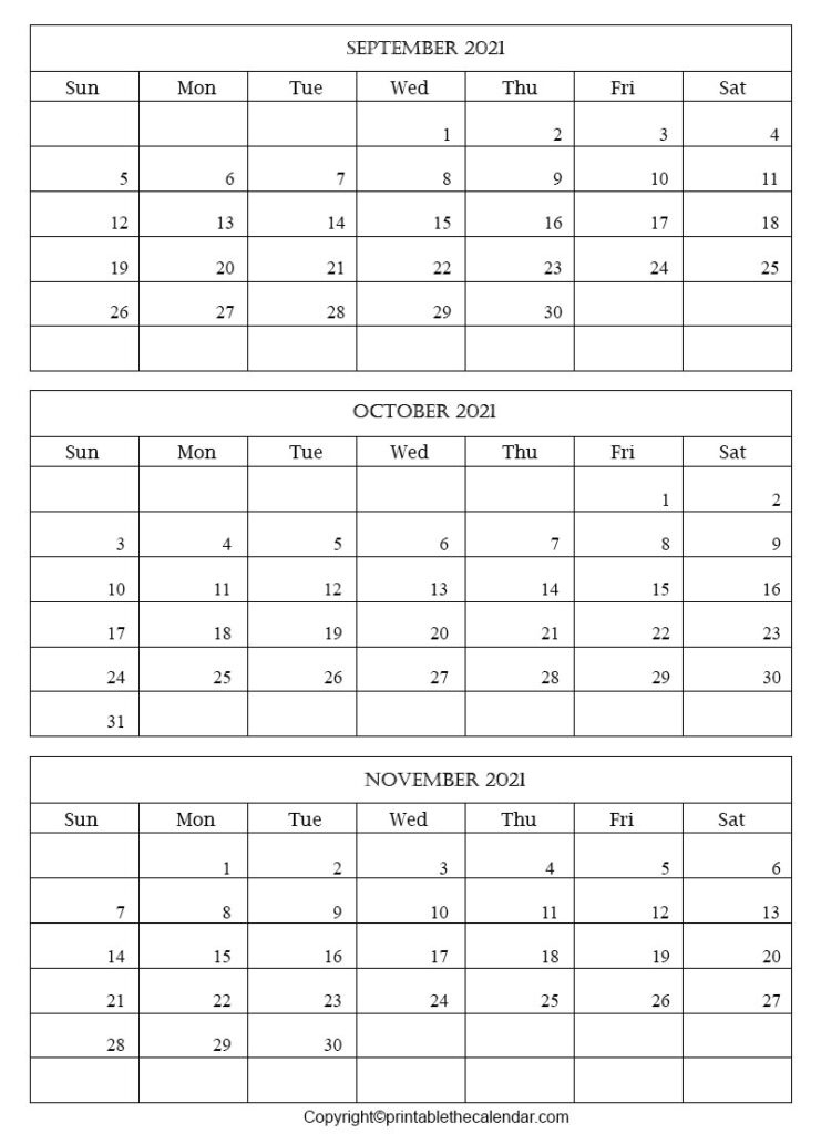 September October November 2021 Calendar Template   Printable The Calendar September October November 2021 Calendar