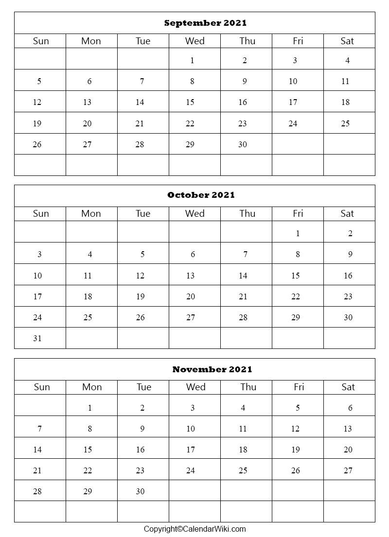 September October November Calendar 2021 | Printable The Calendar October 2020 - September 2021 Calendar