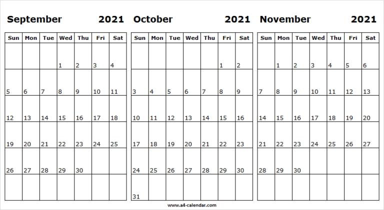 September To November 2021 Calendar A4 Size - Tumblr September October November 2021 Calendar