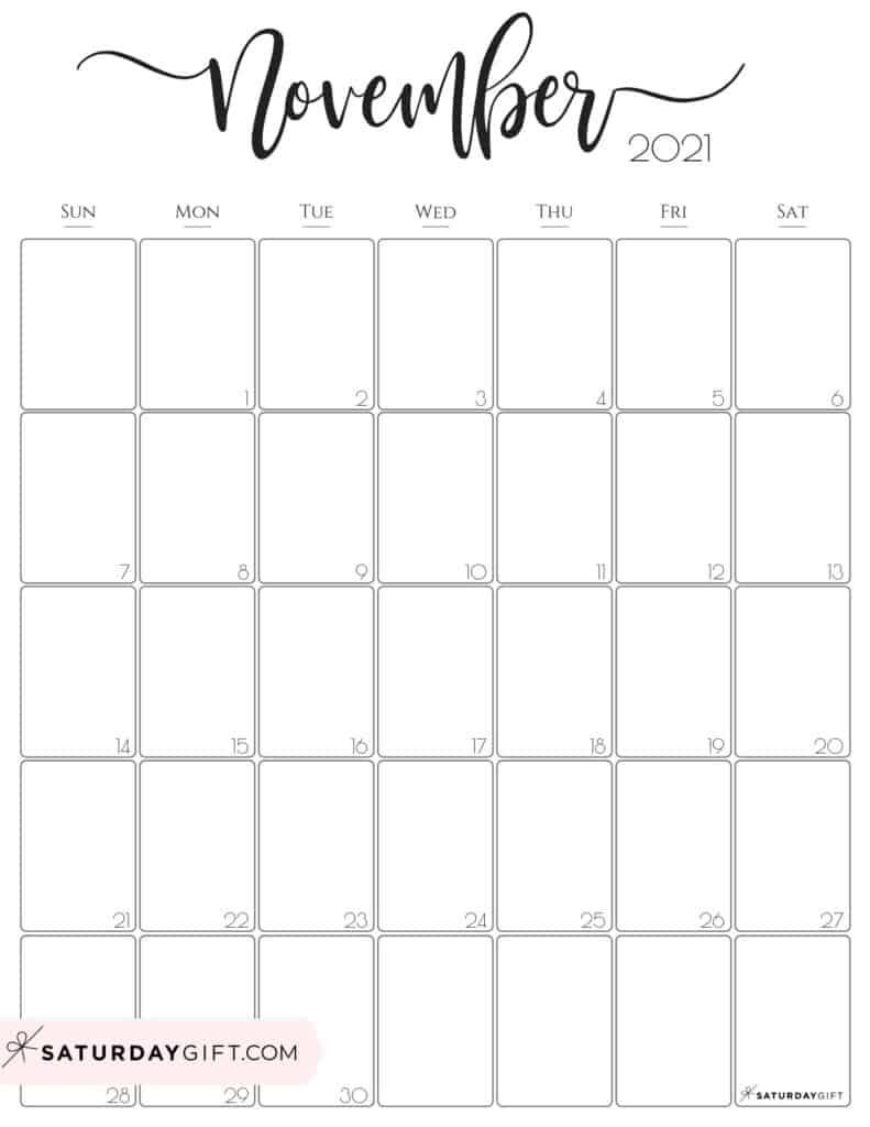 Simple & Elegant Vertical 2021 Monthly Calendar - Pretty Printables September October November 2021 Calendar