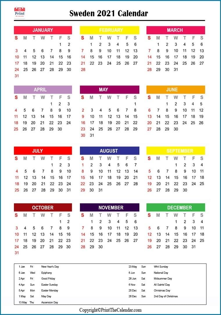 Sweden Holidays 2021 [2021 Calendar With Sweden Holidays] National Calendar October 2021
