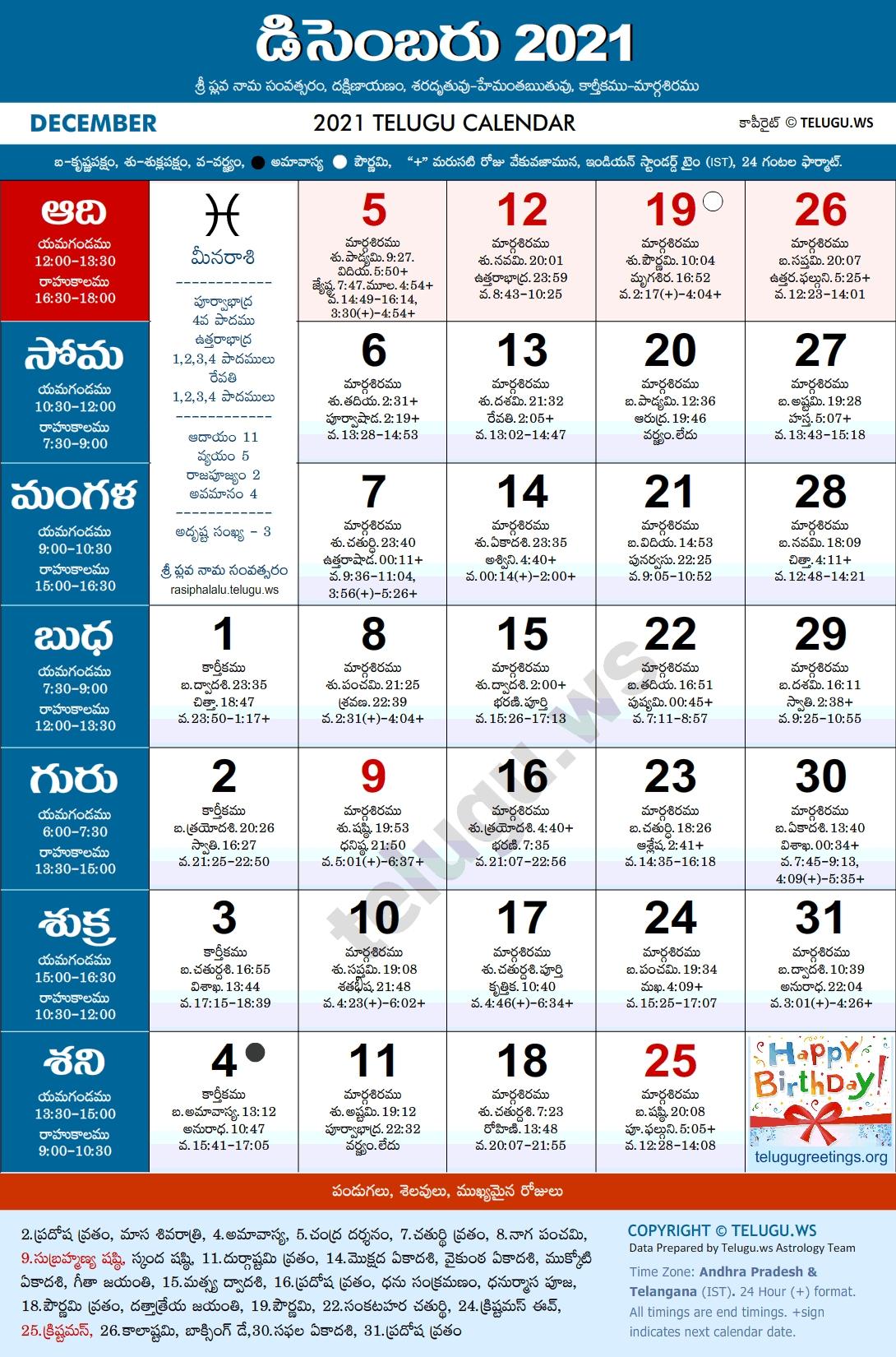 Telugu Calendar 2021 December Pdf Print With Festivals & Holidays List August 2021 Telugu Calendar