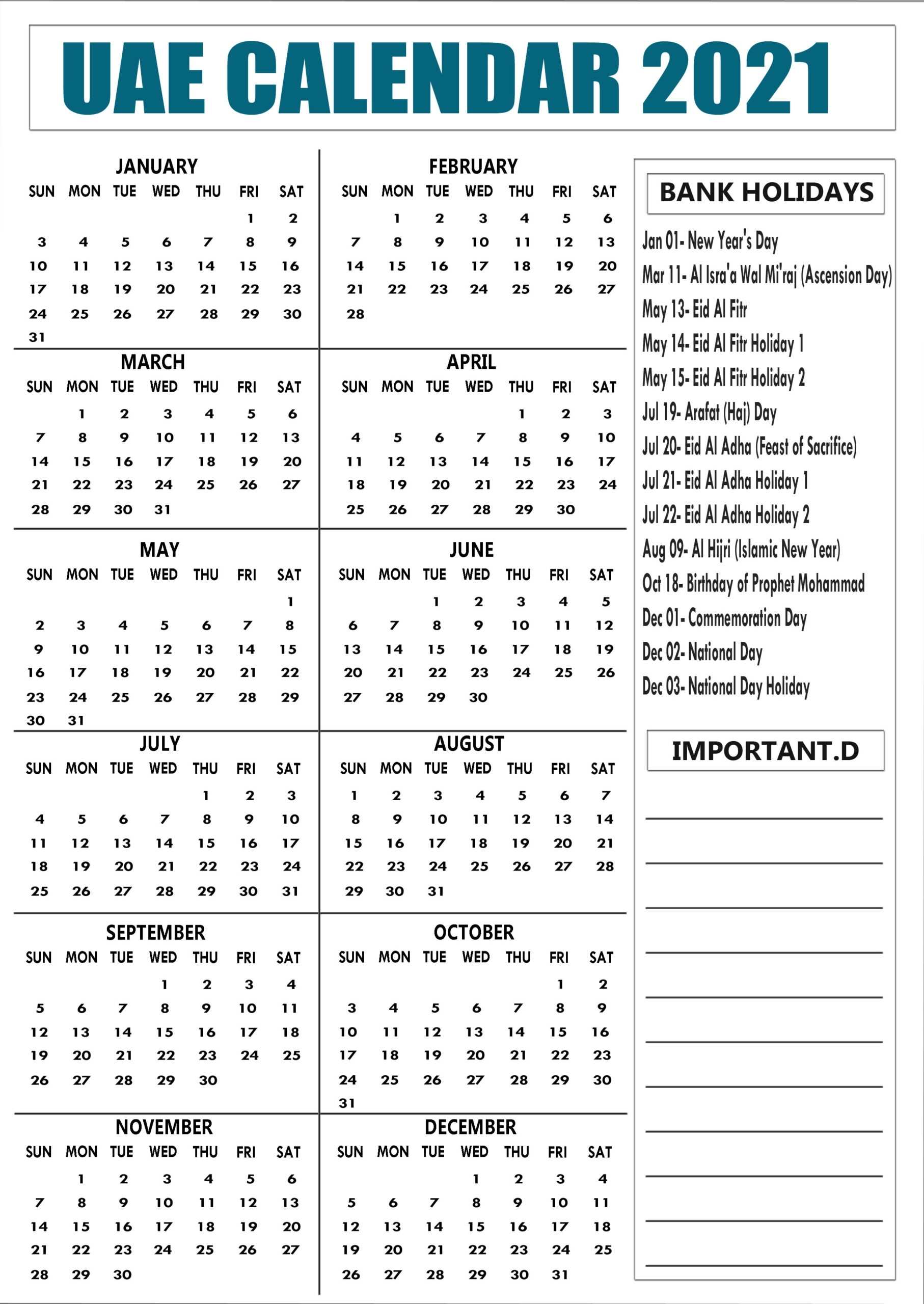 Uae 2021 Calendar With Bank, Public Holidays Printable National Calendar October 2021