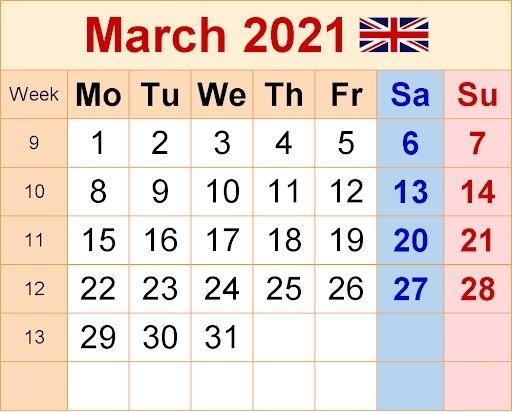 Uk Holidays Calendar March 2021 In 2020   Calendar Printables, September Calendar, Calendar June Wiki Calendar August 2021