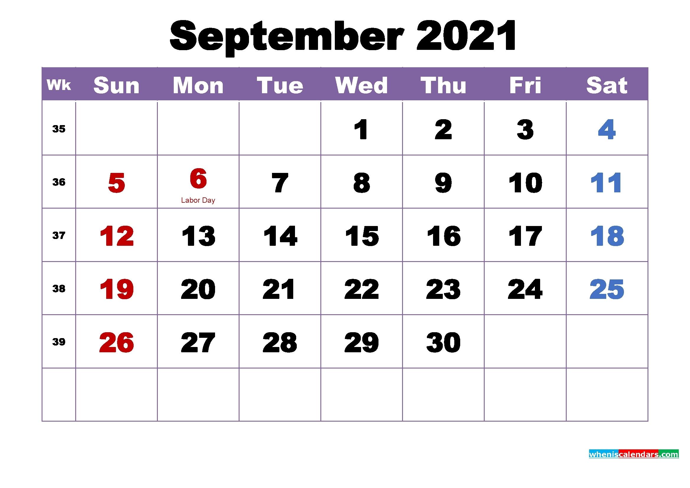 Universal Labor Day 2021 Calendar | Get Your Calendar Printable Printable September 2021 Calendar