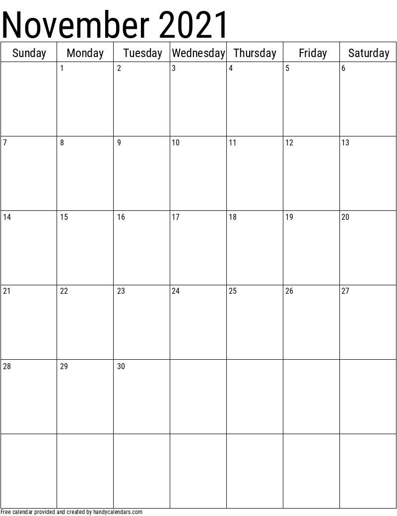 Vertical 2020 Calendar Templates - Handy Calendars September October November 2021 Calendar