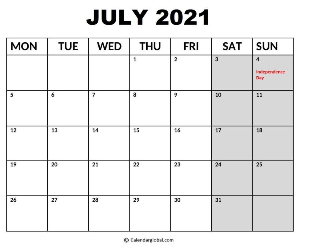 Word Calendar Templates 2021: Free Printable Monthly & Weekly Designs - Calendarglobal July 2021 Calendar Word