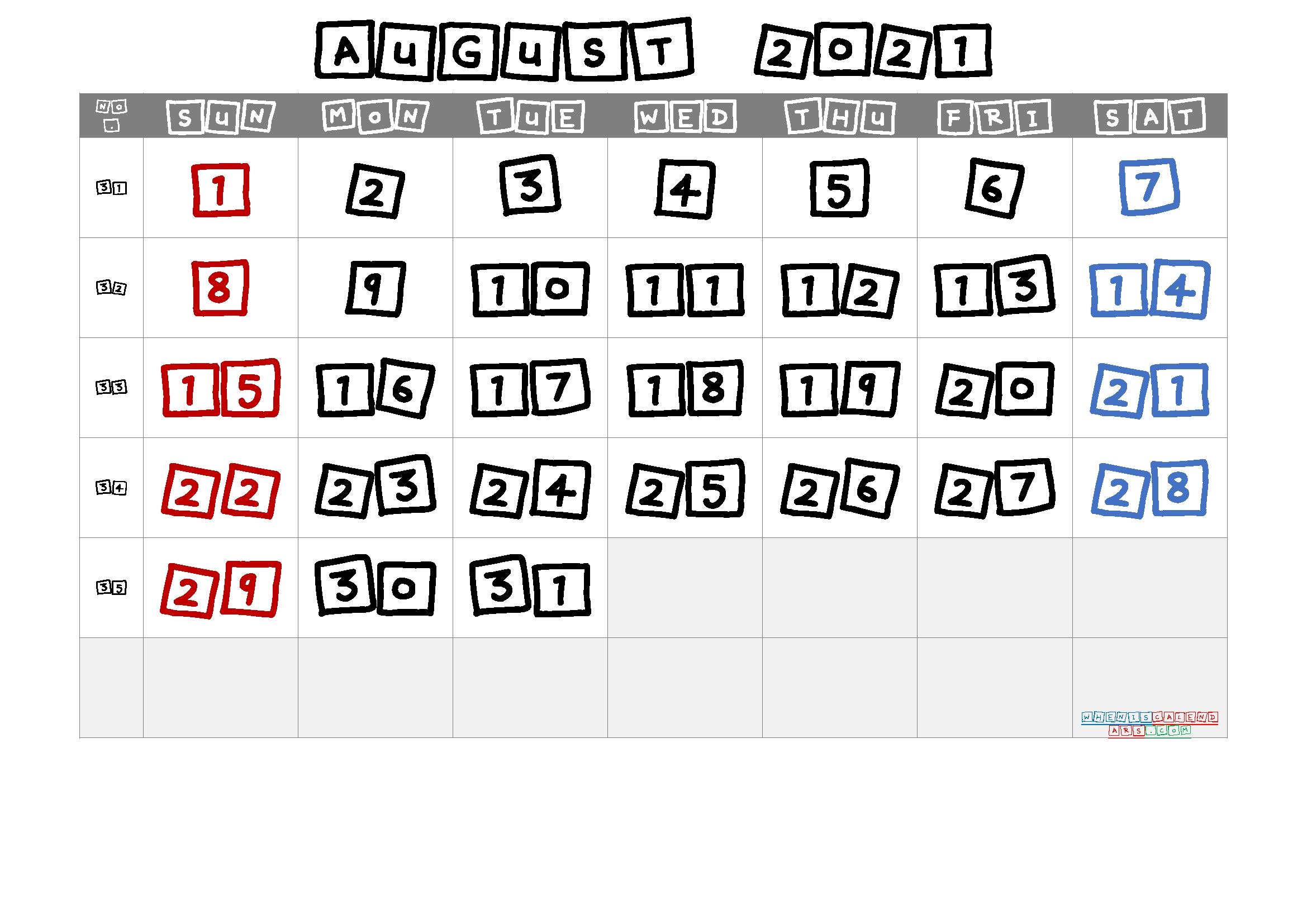 20+ August 2021 Calendar - Free Download Printable Calendar Templates ️ Calendar August 2020 To May 2021