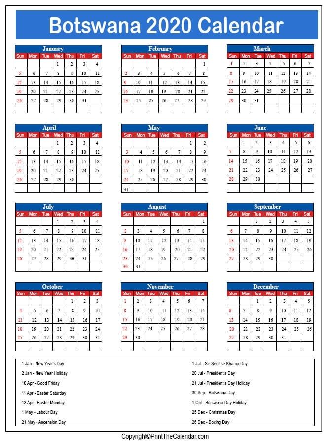 2020 Holiday Calendar Botswana | Botswana 2020 Holidays General Blue August 2021 Calendar