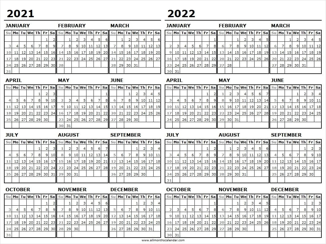 2021-2022 Calendar Free Printable Template - Two Year Calendar Online Next Year August Calendar 2021
