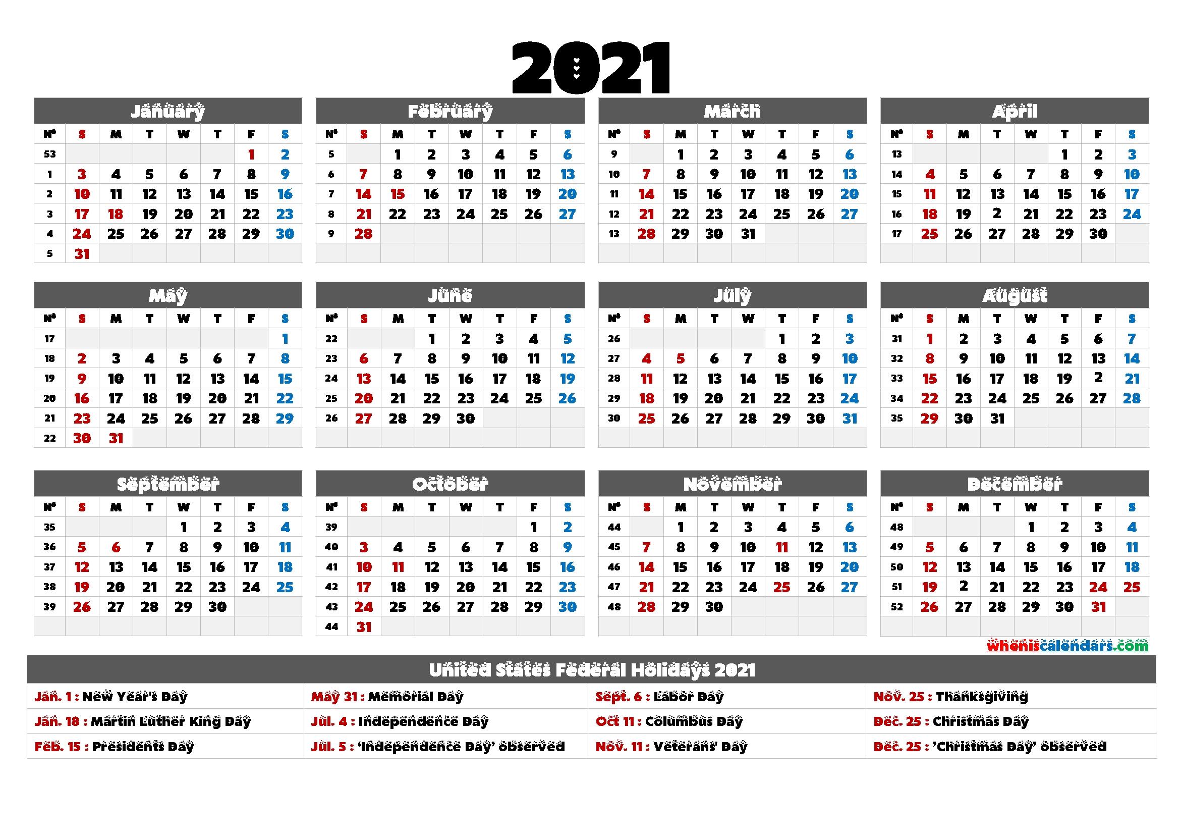 2021 Calendar With Holidays Printable - 6 Templates   Free Printable 2020 Calendar With Holidays Next Year August Calendar 2021