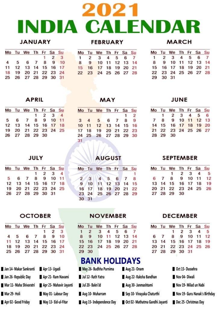 2021 Calendar With India Holidays, Bank, Office, School Printable Marriage Dates In November 2021 Hindu Calendar