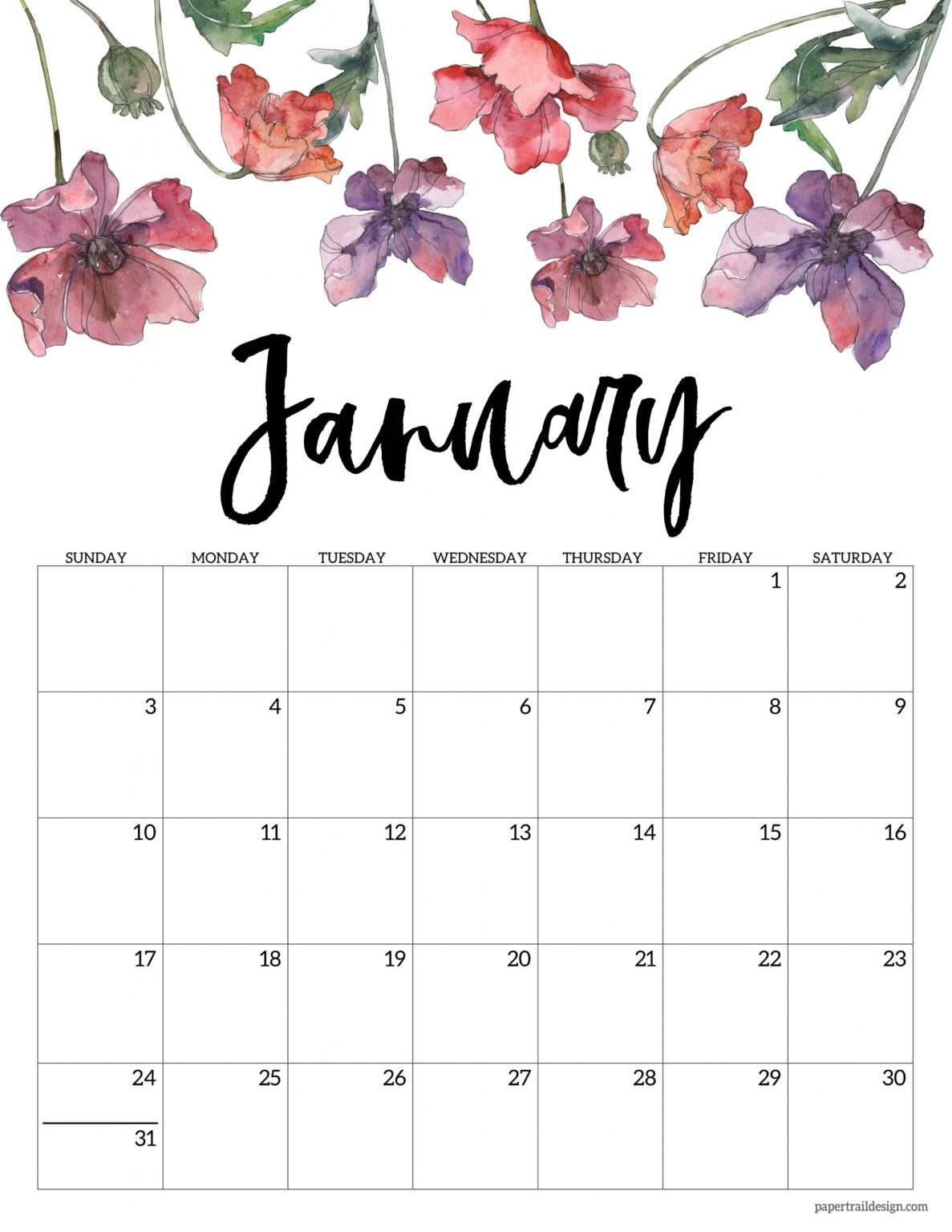 2021 Free Printable Calendar Floral Paper Trail Design - Calendar Template 2021 August 2021 Calendar Floral