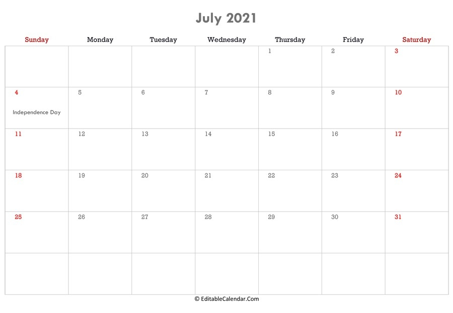 2021 July Calendar Editable | Free Printable Calendar Monthly Editable July 2021 Calendar
