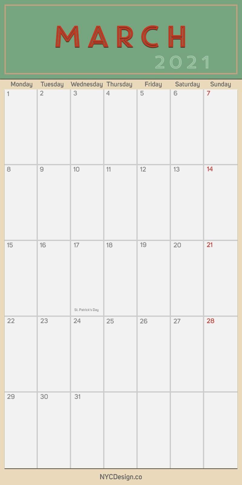 2021 March - Monthly Calendar With Holidays, Printable Free, Pdf - Monday Start - Nycdesign.co February March April May June 2021 Calendar