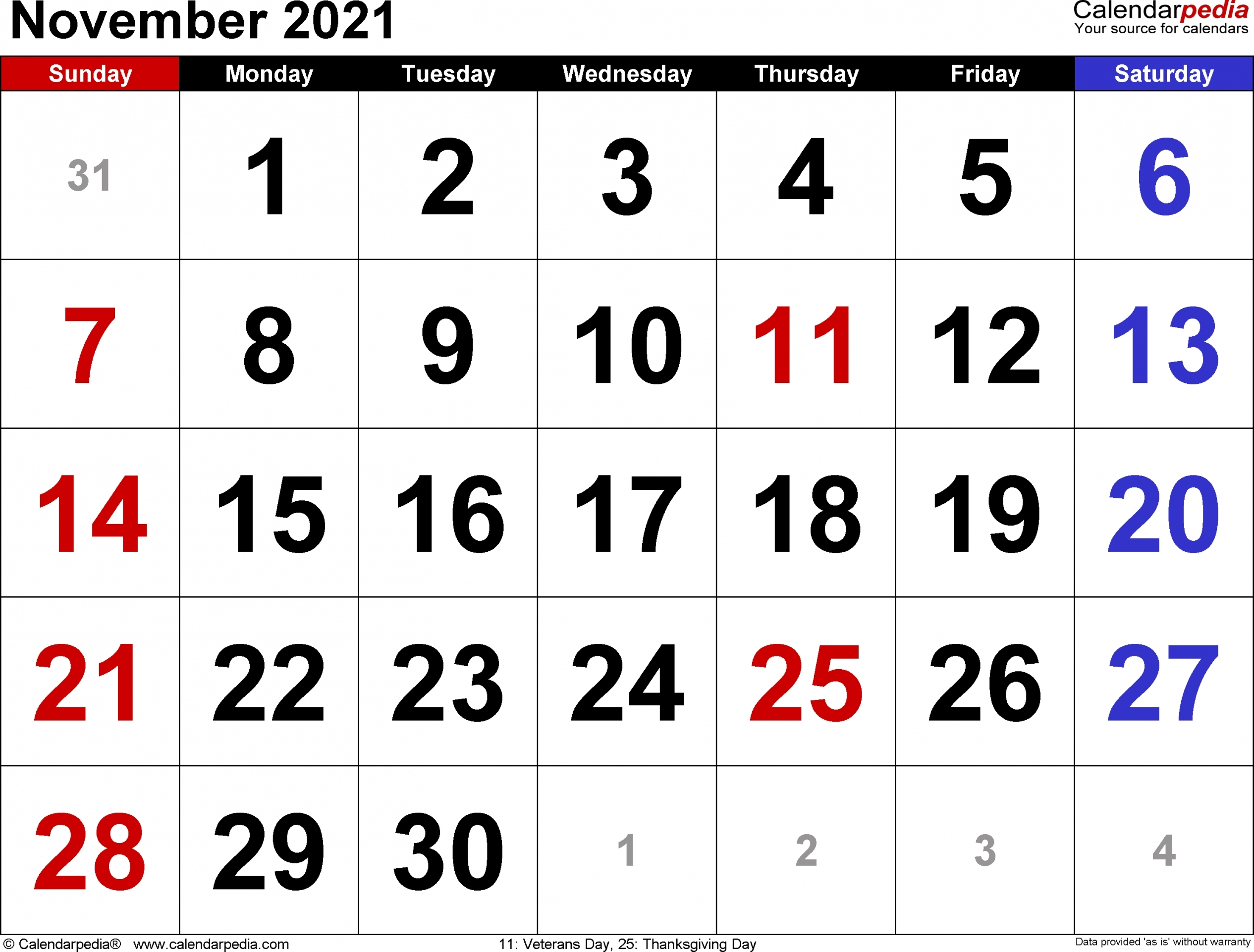 2021 November Calendar Printable   Free Letter Templates Printable Calendar For November 2021