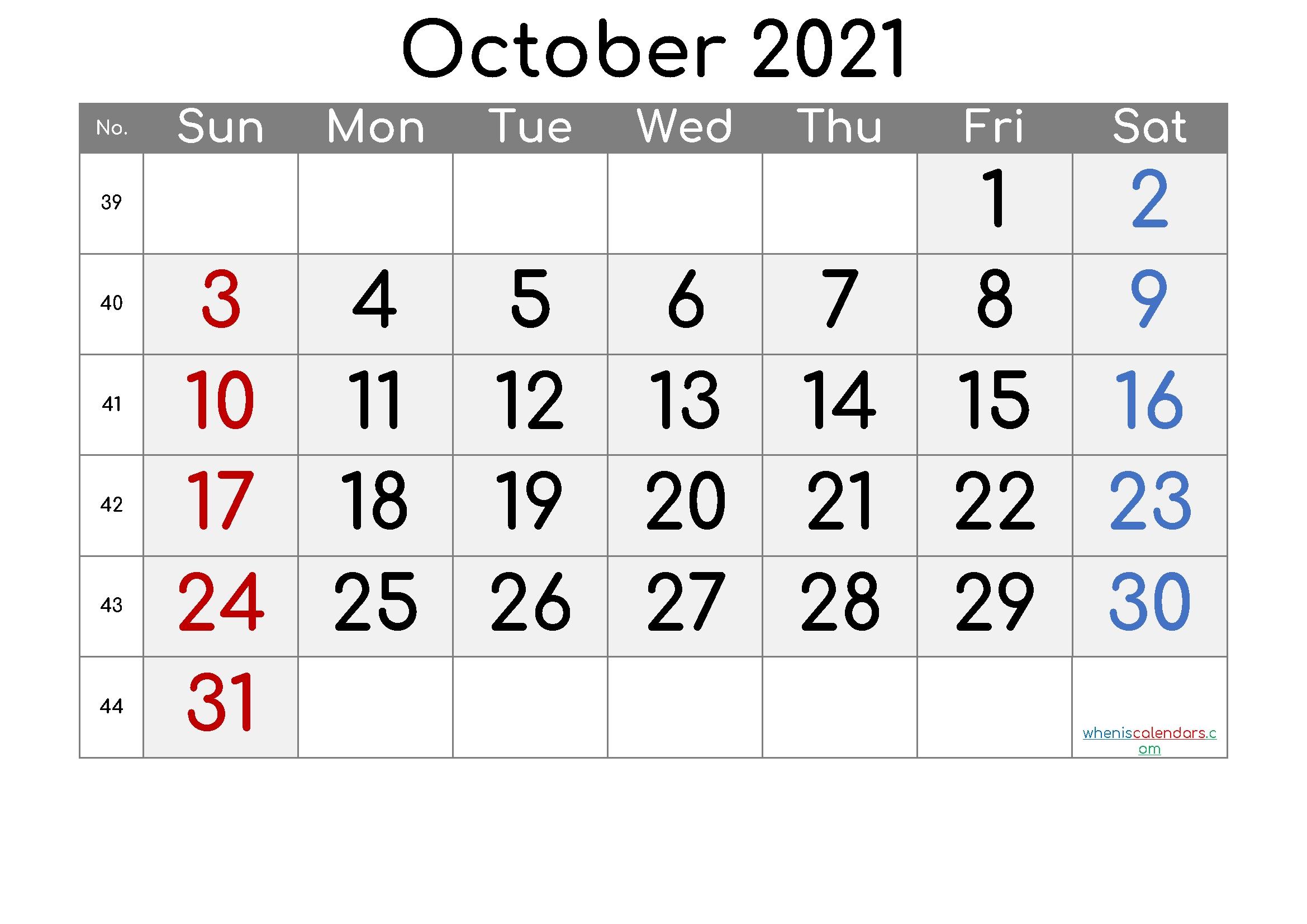 2021 October Free Printable Calendar - 6 Templates October 2021 Calendar Cute