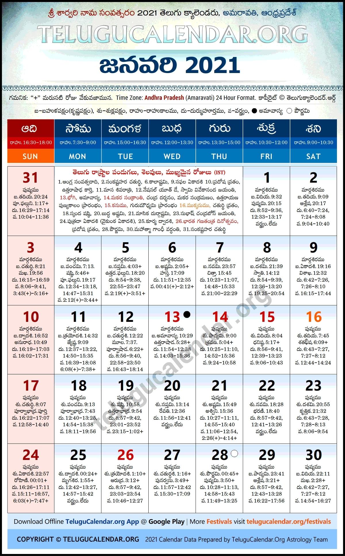 2021 Panchang Pdf | Month Calendar Printable Telugu Calendar 2021 October Andhra Pradesh