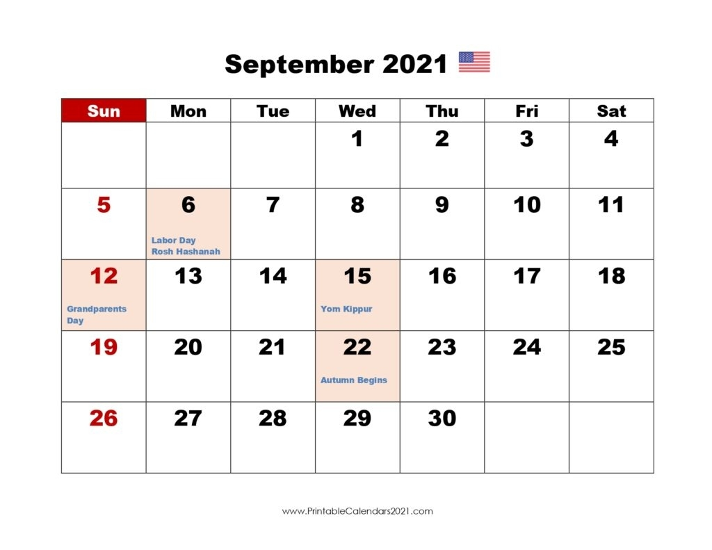 40+ September 2021 Calendar Printable, September 2021 Calendar Pdf September - December 2021 Calendar
