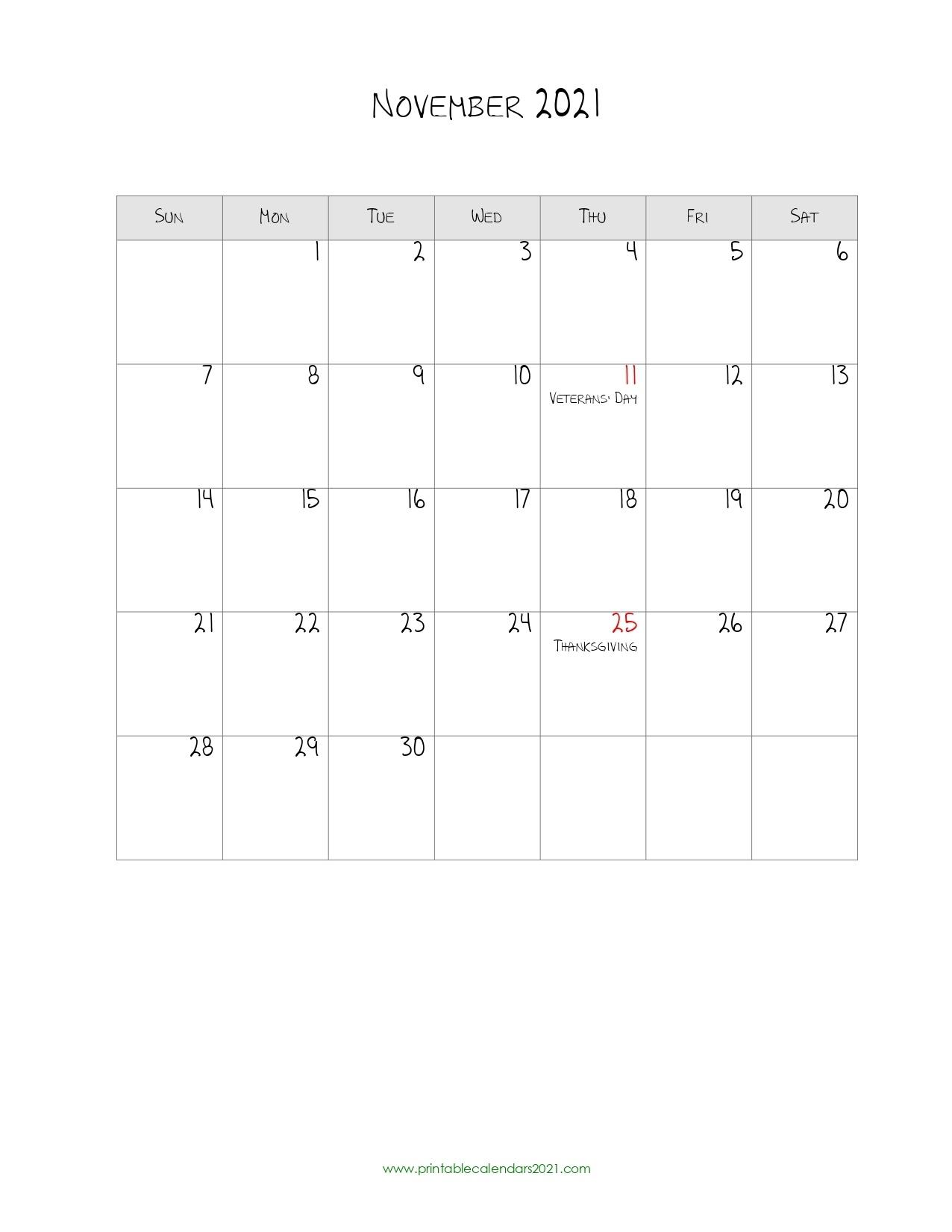 44+ November 2021 Calendar Printable, November 2021 Calendar Pdf Printable Calendar For November 2021
