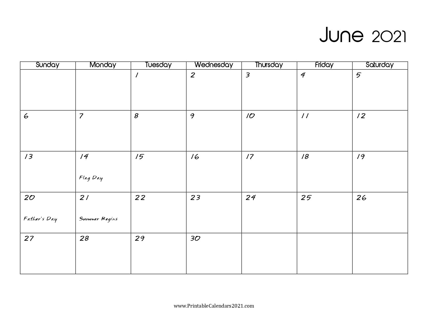 60+ Free June 2021 Calendar Printable With Holidays, Blank, Pdf June 2021 Calendar Blank