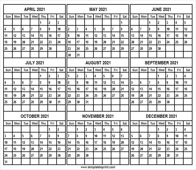 April To December 2021 Calendar Template   2021 Blank Calendar Editable December 2021 Calendar
