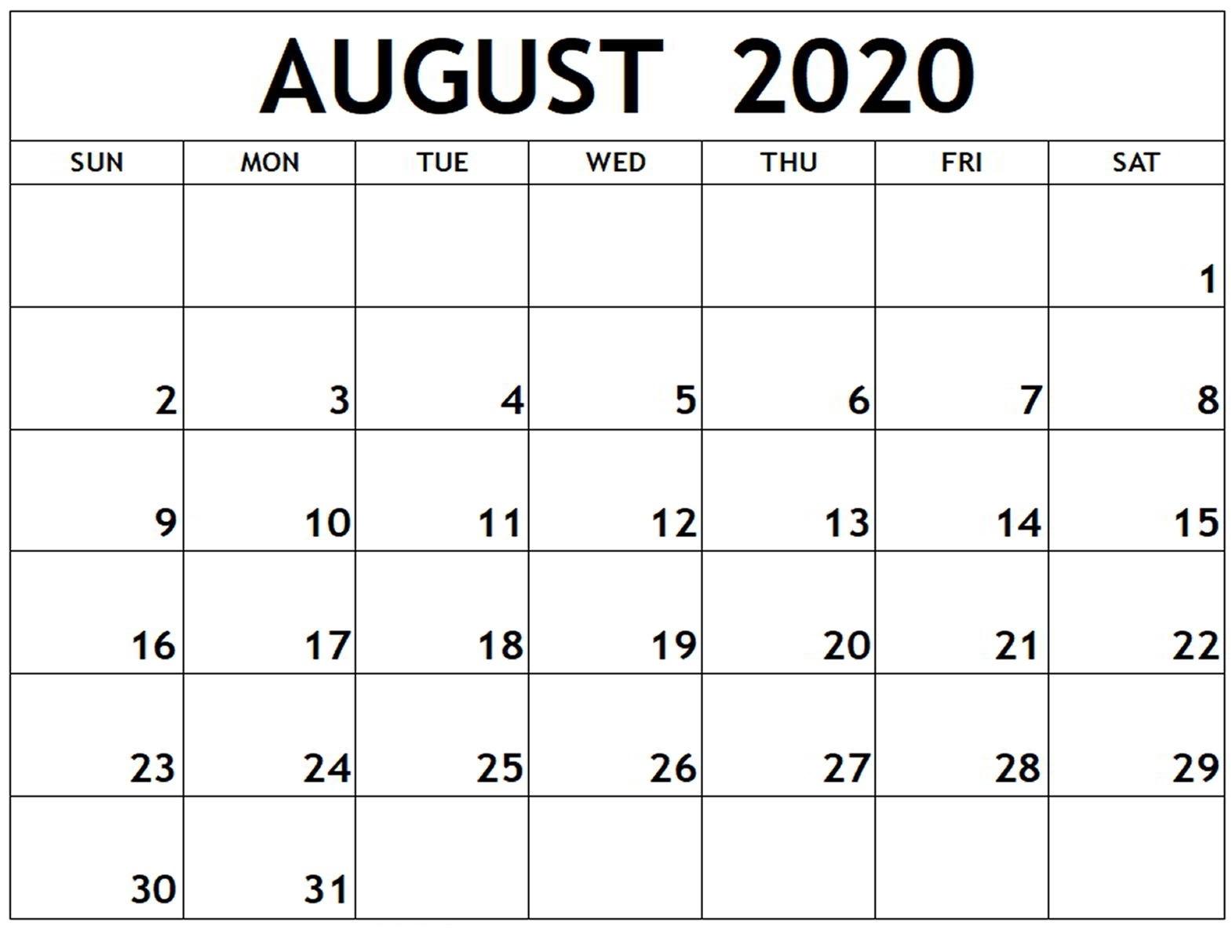 August-2020-Printable-Calendar - Web Prepration Printable Calendar August 2020 To May 2021