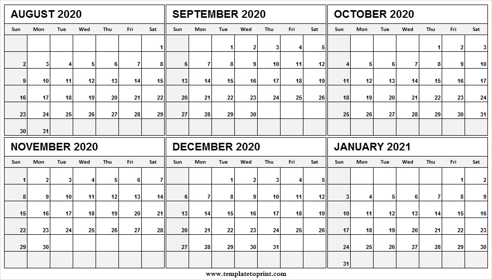 August 2020 To January 2021 Calendar Sunday Start - To Do List Calendar August 2020 To May 2021