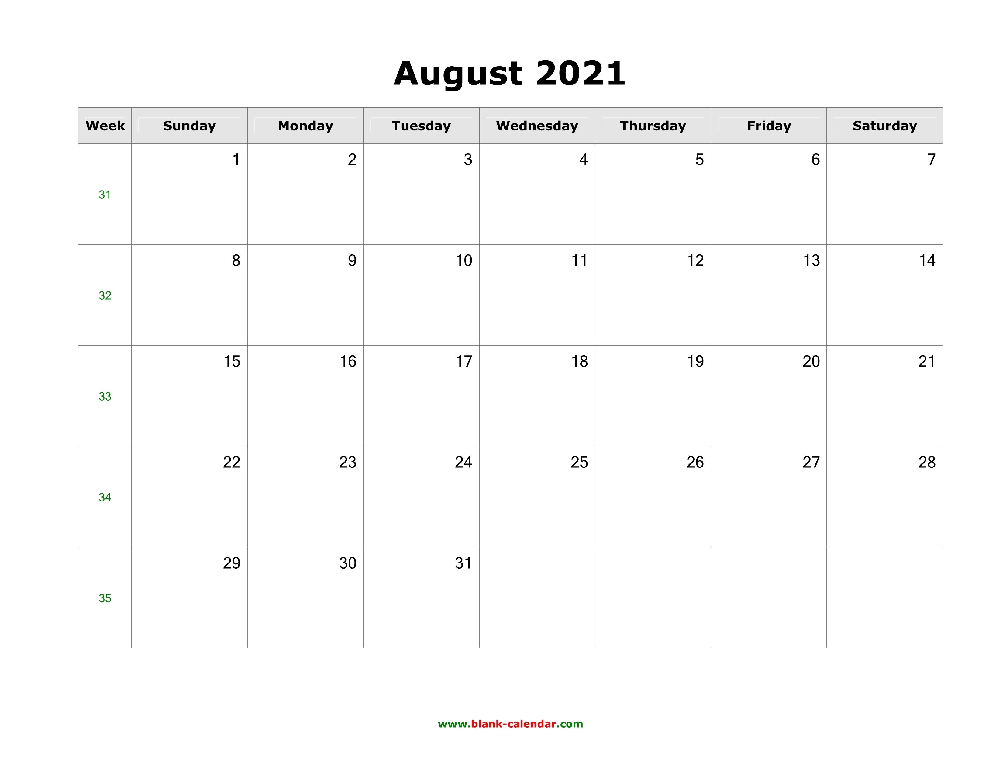 August 2021 Blank Calendar   Free Download Calendar Templates Calendar August 2020 To May 2021