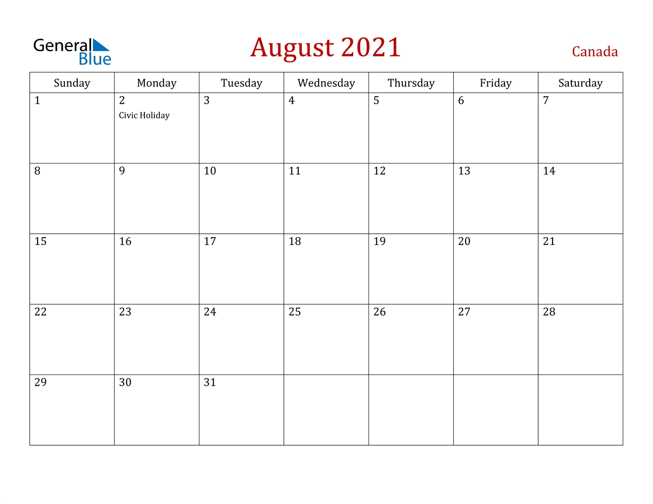 August 2021 Calendar - Canada Calendar August 2020 To May 2021