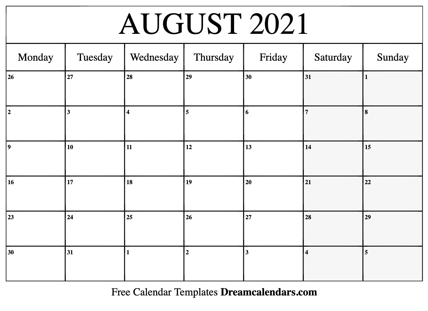 August 2021 Calendar | Free Blank Printable Templates Printable Calendar August 2020 To May 2021