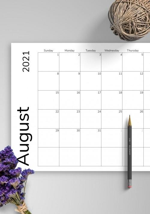 August 2021 Calendar Templates - Download Pdf Next Year August Calendar 2021