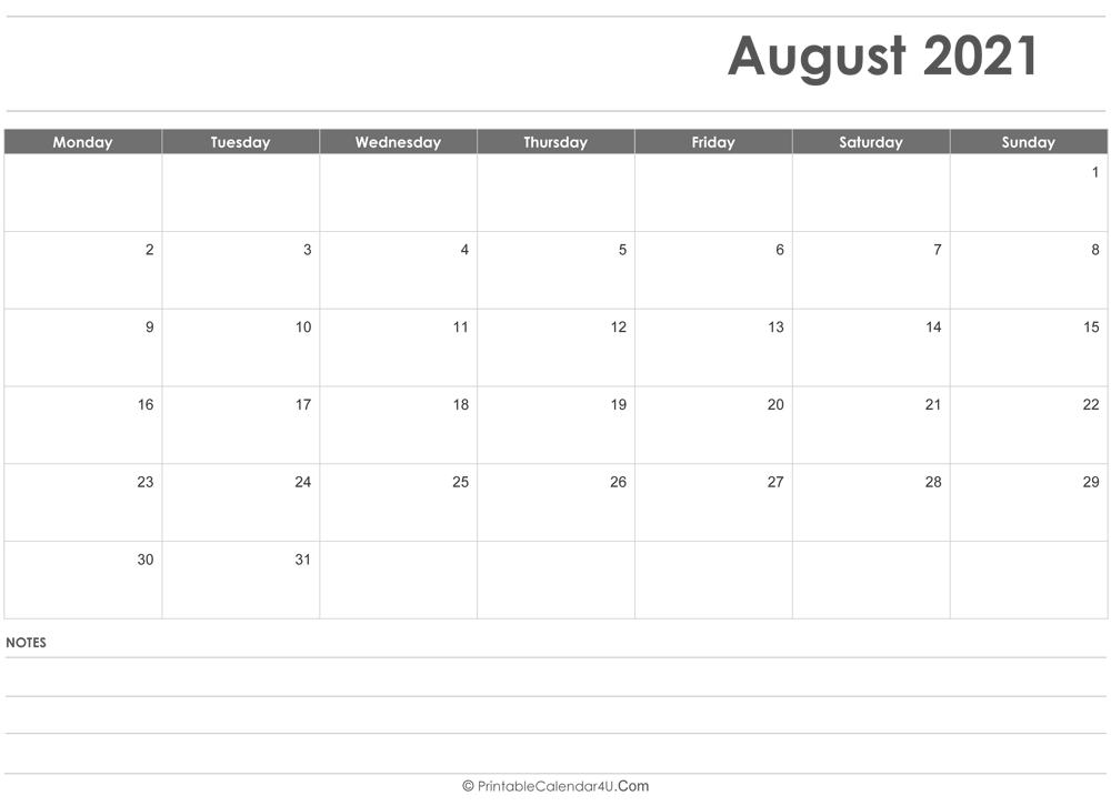 August 2021 Calendar With Note Pdf Word Image   Calvert Giving Next Year August Calendar 2021